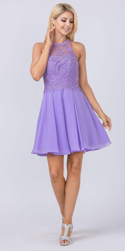 Appliqued Halter Homecoming Short Dress Lilac