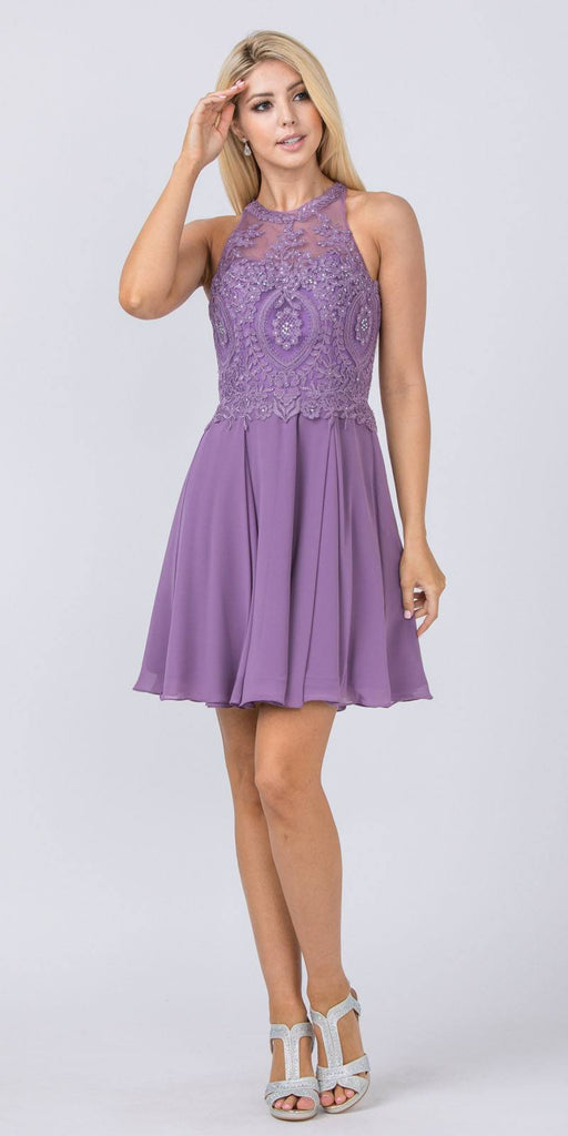 Appliqued Halter Homecoming Short Dress Mauve