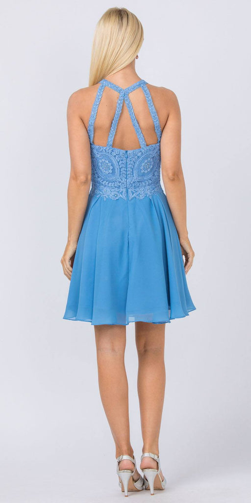 Appliqued Halter Homecoming Short Dress Perry Blue
