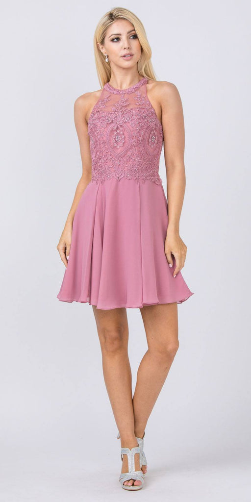 Appliqued Halter Homecoming Short Dress Rose