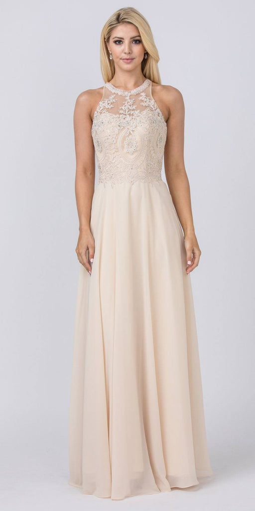 Champagne Halter Long Formal Dress Appliqued Bodice