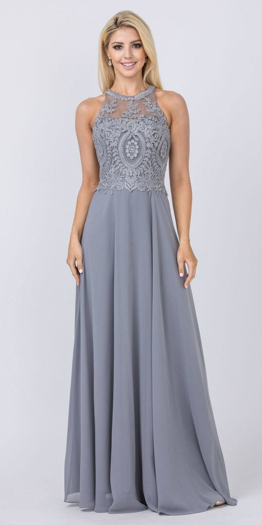 Charcoal Halter Long Formal Dress Appliqued Bodice