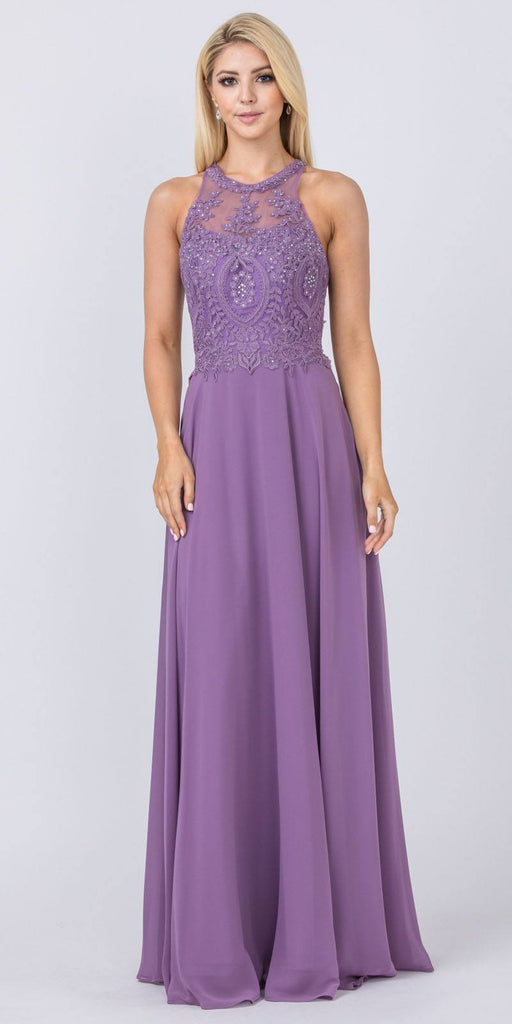 Mauve Halter Long Formal Dress Appliqued Bodice