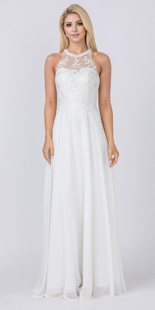 White Halter Long Formal Dress Appliqued Bodice