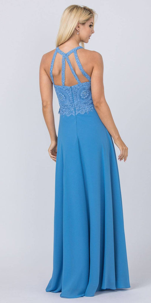 Perry Blue Halter Long Formal Dress Appliqued Bodice