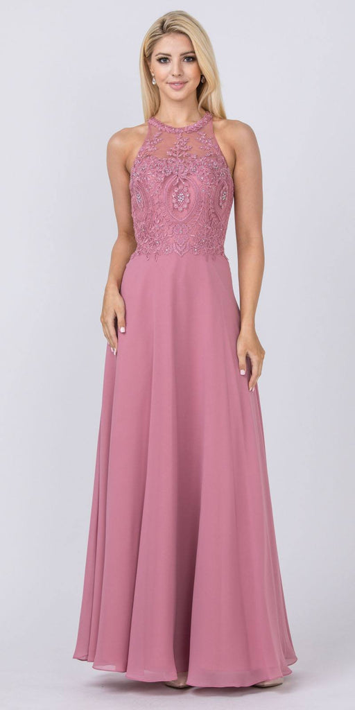 Rose Halter Long Formal Dress Appliqued Bodice