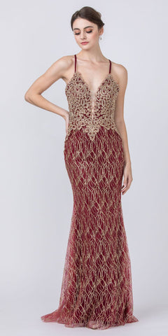 V-Neck Mermaid Long Prom Dress Appliqued Burgundy