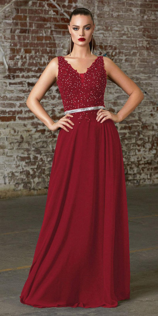 Cinderella Divine 9173 Long Burgundy A-Line Chiffon Gown With Embellished Lace Bodice And Belt
