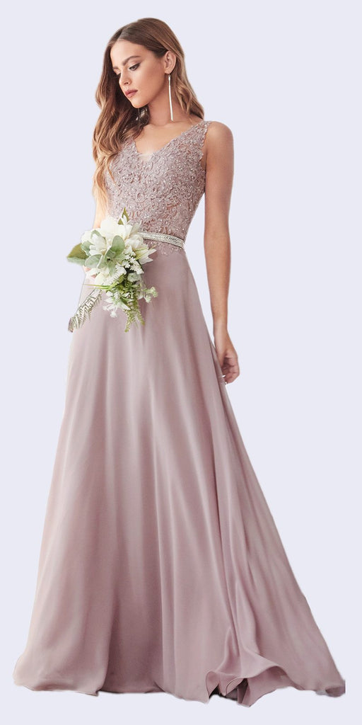Cinderella Divine 9173 Long Mauve A-Line Chiffon Gown With Embellished Lace Bodice And Belt