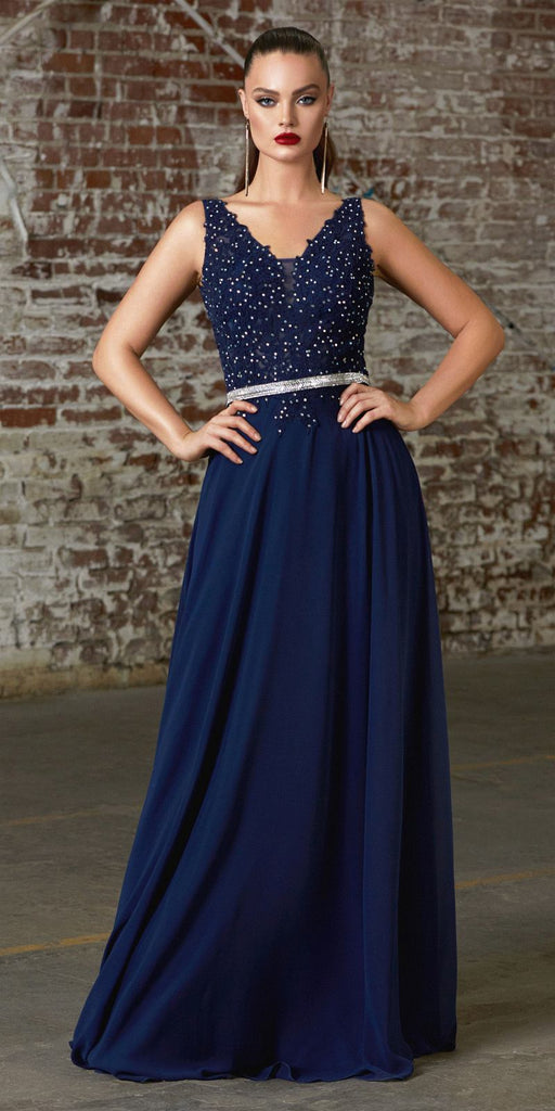 Cinderella Divine 9173 Long Navy Blue A-Line Chiffon Gown With Embellished Lace Bodice And Belt