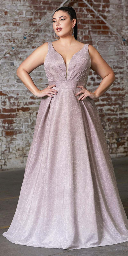 A-Line Long Metallic Glitter Ombre Gown Mauve Pleated Neckline And Pockets