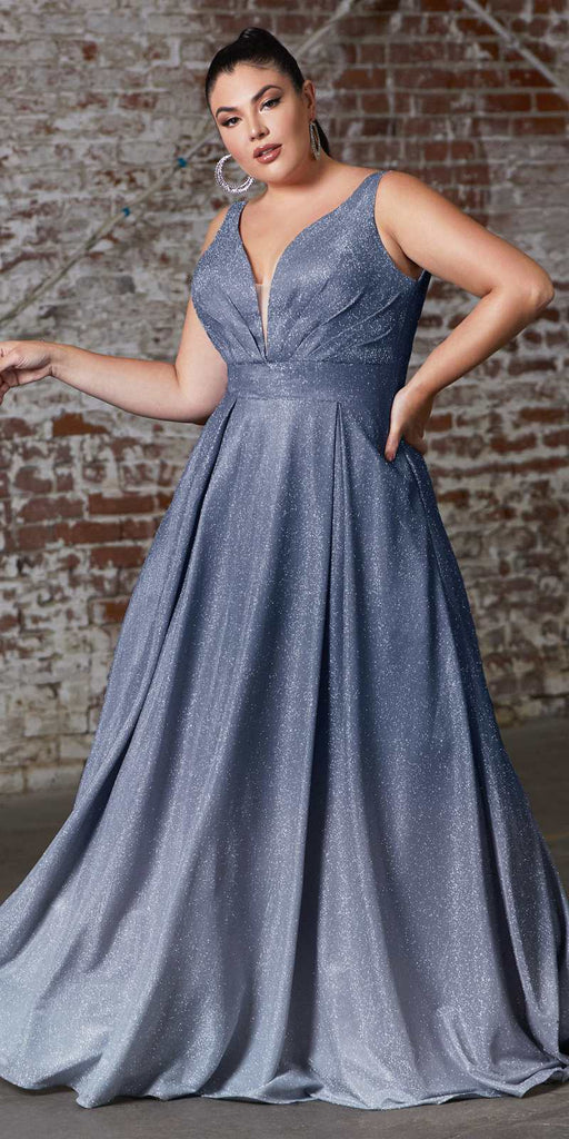 A-Line Long Metallic Glitter Ombre Gown Navy Blue Pleated Neckline And Pockets