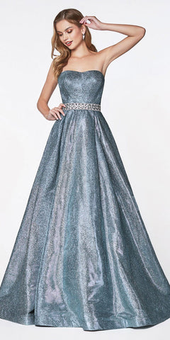 Cinderella Divine 9175 A-Line Strapless Glitter Ball Gown Blue Long Beaded Belt Sweetheart Neck