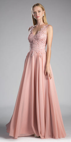 Blush V-Neck Long Formal Dress with Appliqued Bodice