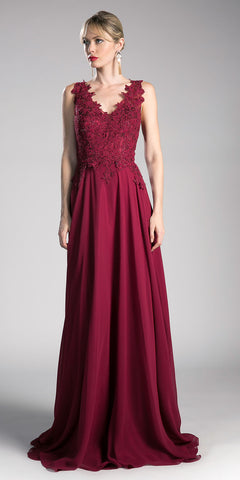 Burgundy V-Neck Long Formal Dress with Appliqued Bodice