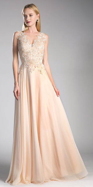 Champagne V-Neck Long Formal Dress with Appliqued Bodice