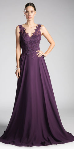 Eggplant V-Neck Long Formal Dress with Appliqued Bodice
