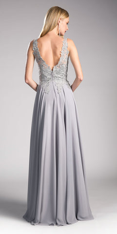 Silver V-Neck Long Formal Dress with Appliqued Bodice