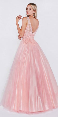 Cinderella Divine 9178 Poofy A-Line Blush Ball Gown Lace Bodice Satin Skirt