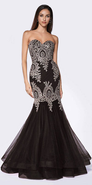 Cinderella Divine 9179 Strapless Mermaid Tulle Gown Black/Gold Horsehair Trim Hem