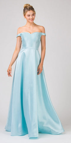 Tiffany Blue Off-Shoulder Long Prom Dress A-Line