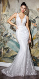 Floor Length Off White Wedding Gown Fit and Flare V-Back and Front