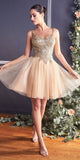 Short Poofy Champagne/Gold A-Line Party Ball Gown Tulle Skirt