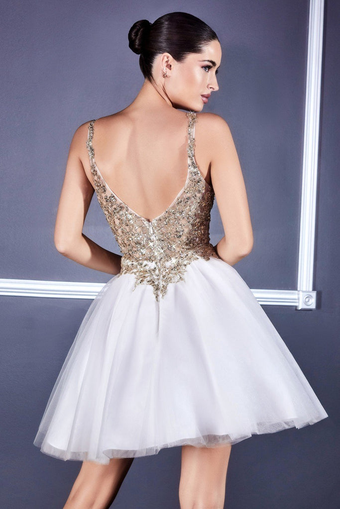 Short Poofy Off White/Gold A-Line Party Ball Gown Tulle Skirt
