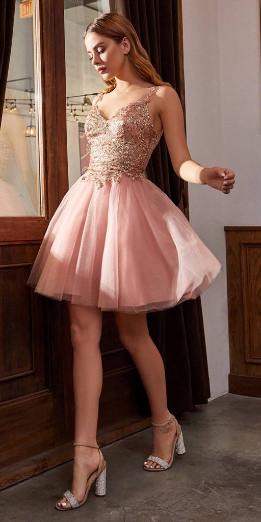 Short Poofy Rose/Gold A-Line Party Ball Gown Tulle Skirt