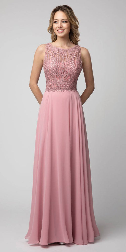 Dusty Rose Embroidered Long Formal Dress Sleeveless