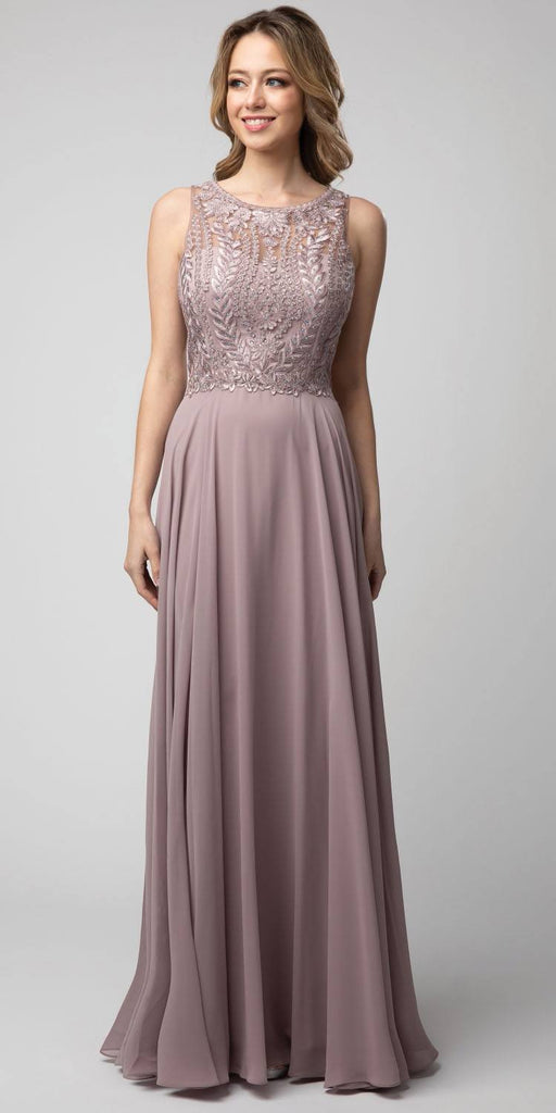 Mauve Embroidered Long Formal Dress Sleeveless