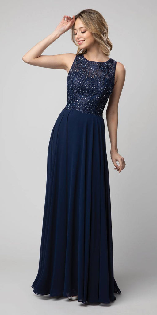 Navy Blue Embroidered Long Formal Dress Sleeveless