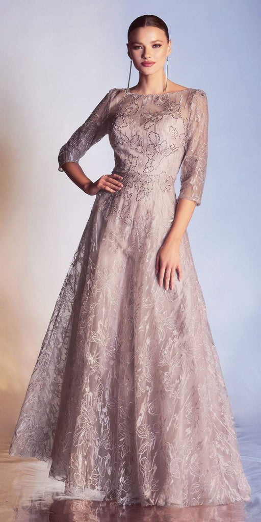 Cinderella Divine 9241 Mother of the Bride A-Line Mauve Lace Print Dress Three Quarter Sleeve