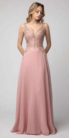 Long A-Line Pleated Dress Dusty Rose Lace Applique Bodice Open Back