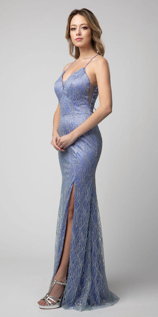 Lace-Up Back Long Prom Dress with Slit Blue