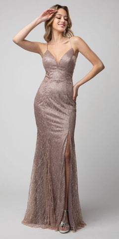 Lace-Up Back Long Prom Dress with Slit Mauve