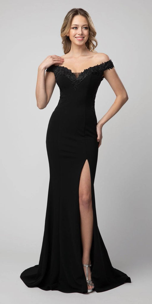 Off-Shoulder Mermaid Long Prom Dress Black with Slit