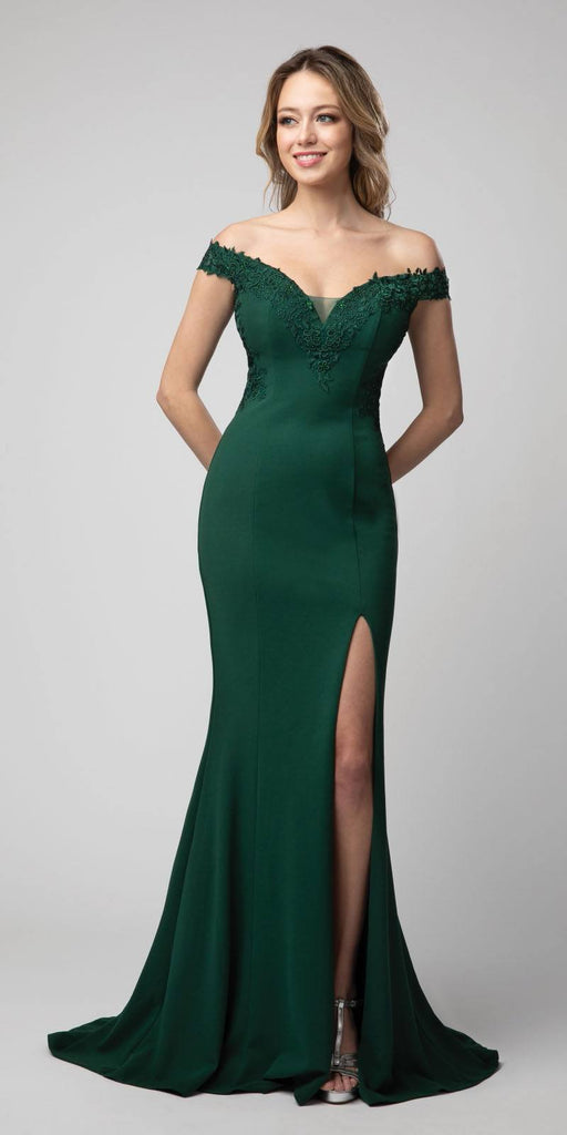 Off-Shoulder Mermaid Long Prom Dress Emerald Green with Slit