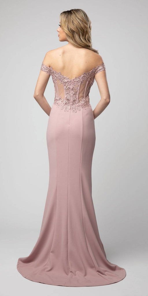Off-Shoulder Mermaid Long Prom Dress Mauve with Slit