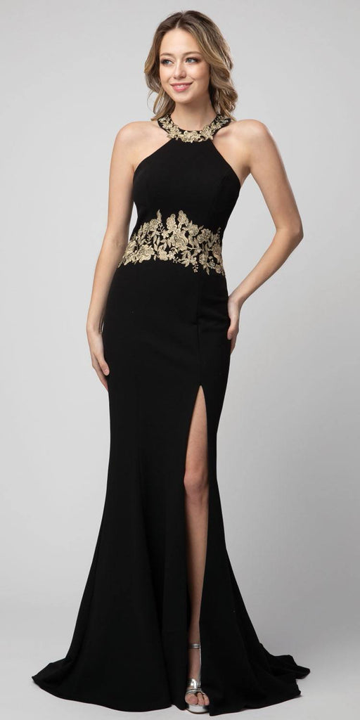 Black Halter High-Neckline Long Formal Dress with Slit