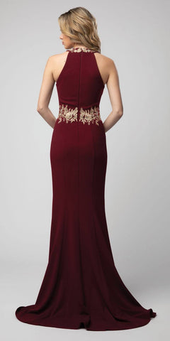 Burgundy Halter High-Neckline Long Formal Dress with Slit