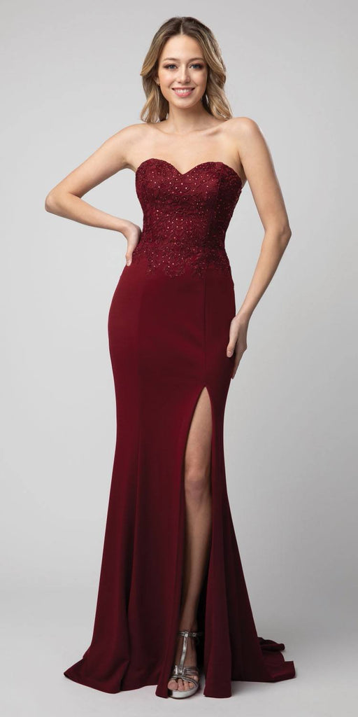 Burgundy Embellished Strapless Long Prom Dress with Slit