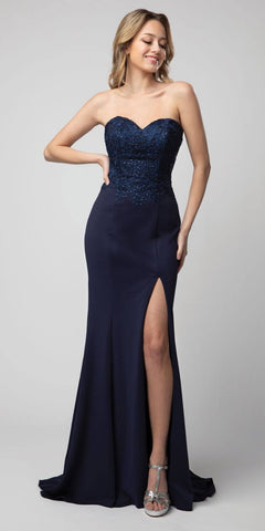Navy Blue Embellished Strapless Long Prom Dress with Slit