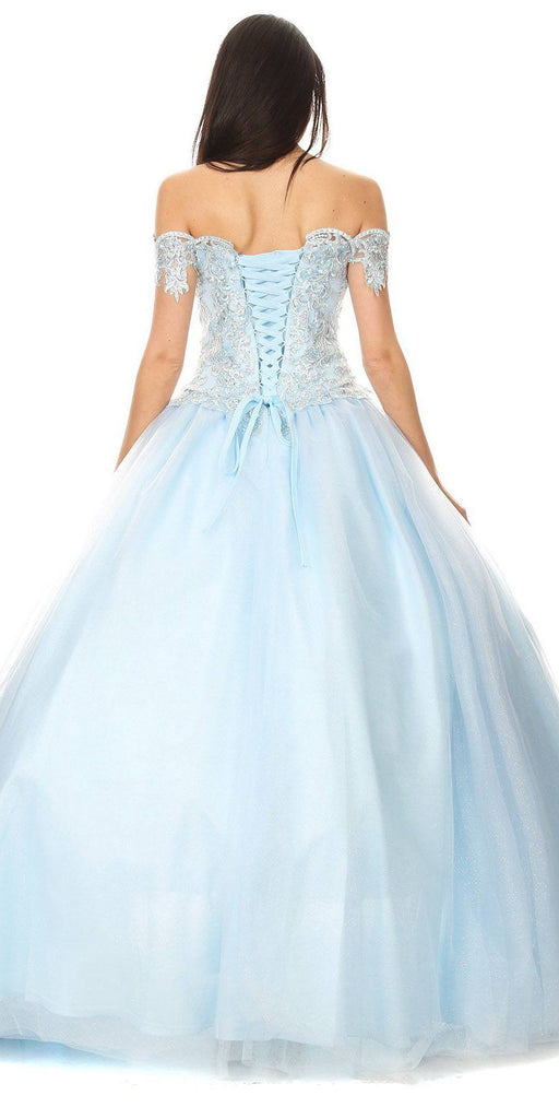 Off-Shoulder Bahama Blue Appliqued Quinceanera Dress