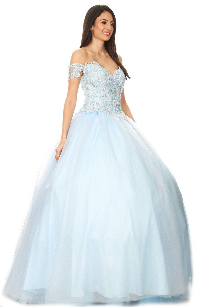 Princess Ball Gown Off-Shoulder Bahama Blue Corset Back