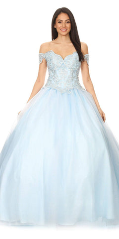 Illusion Beaded Waist Layered Long Prom Dress Ice Blue