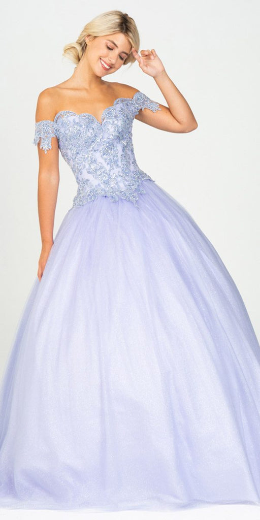 Off-Shoulder Lilac Appliqued Quinceanera Dress