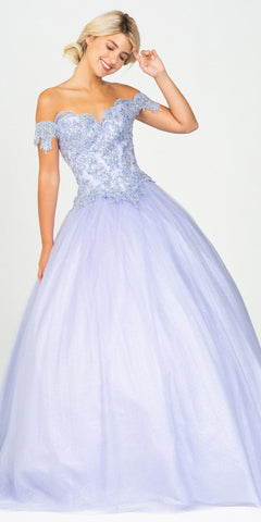 Charcoal Off-Shoulder Ruffled Quinceanera Dress