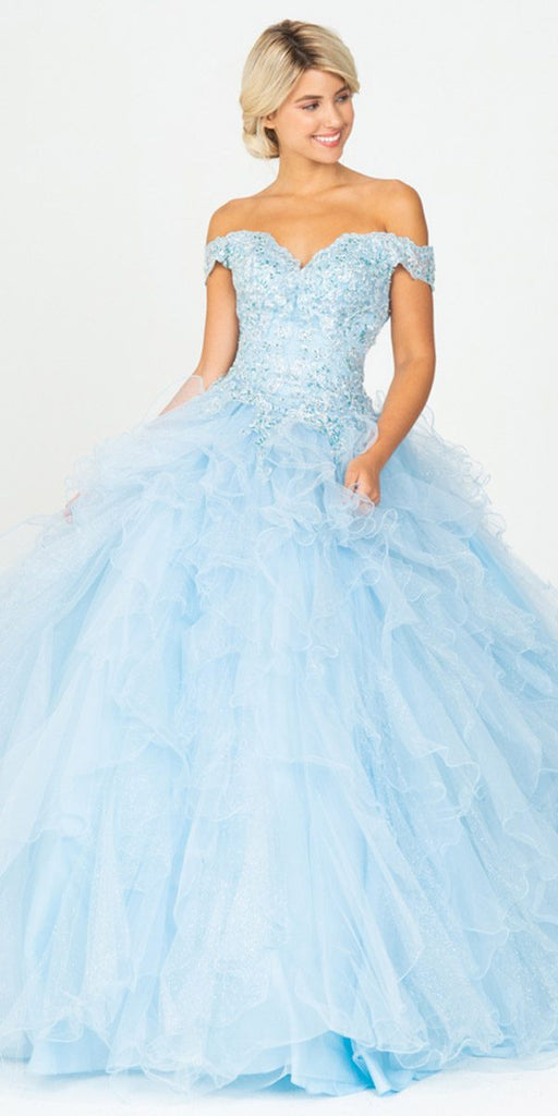 Bahama Blue Off-Shoulder Quinceanera Dress
