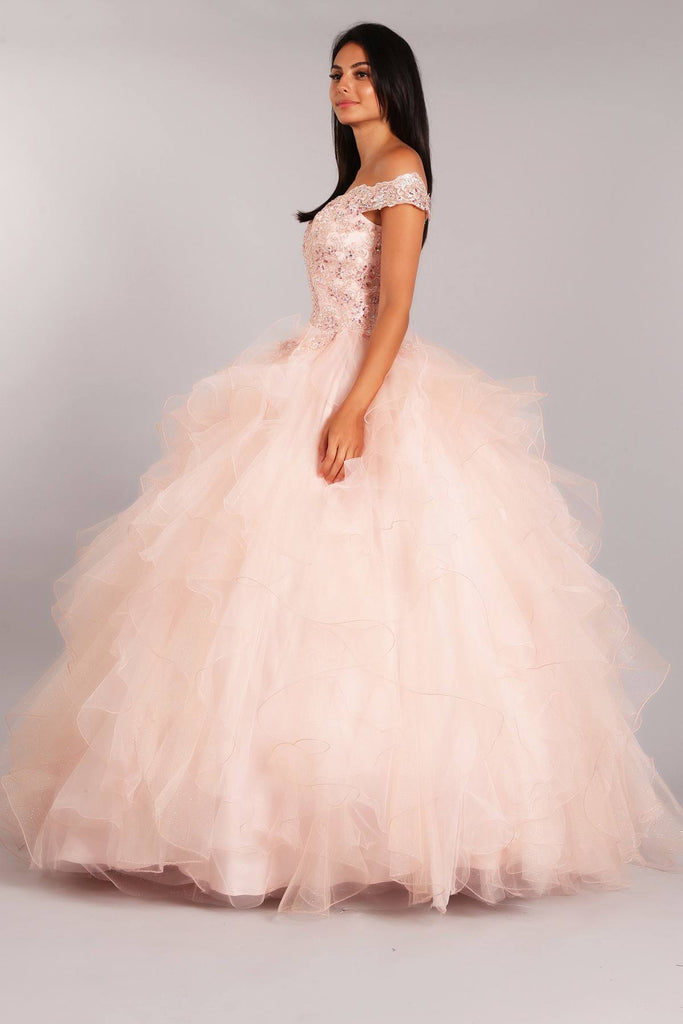 Blush Off-Shoulder Quinceanera Dress